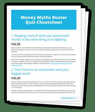 Money Myths Buster Quiz Cheatsheet