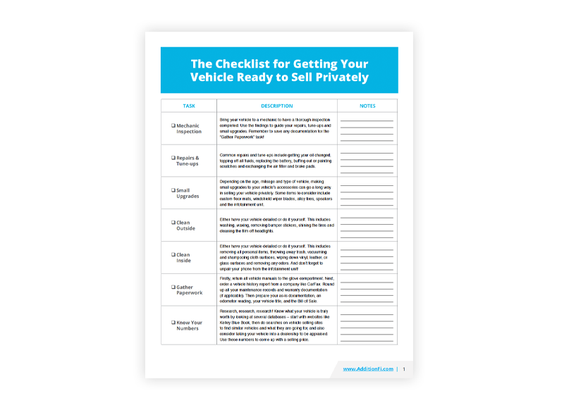 The Checklist for Getting Your Vehicle Ready to Sell Privately